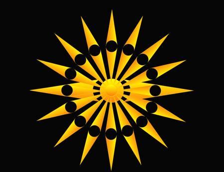 hoeken, punten en cirkel, vormen een zon, met richtings punten, ideaal voor gebruik als een bedrijfs concept abstract, een pictogram of een logo