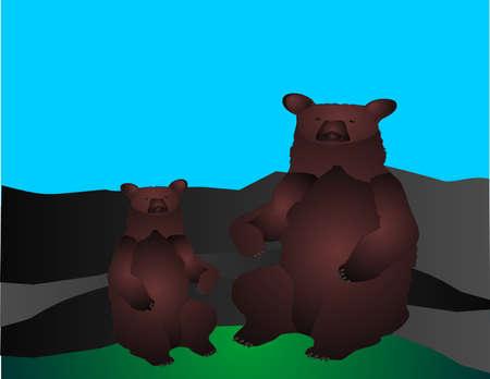 kodiak: �Mam� y un negro de beb� tengan sentado y descansando sobre una gama de mountrain...  Vectores