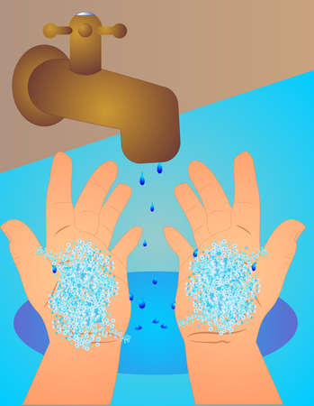With soap bubbles on hands, we wipe them together for 20 seconds. making them clean, as the water drips out of tap. To fight sickness. Illustration