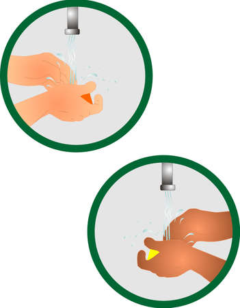 antibacterial soap: Washing your hands icon, for cleanliness, and prevention of germ transfer. Keeping us healthy. Illustration