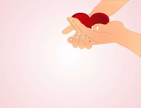 Hands holding out heart, and offering ones love to another.. Vector