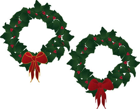 Holly leaves and berries forming a festive wreath, with a red ribbon...