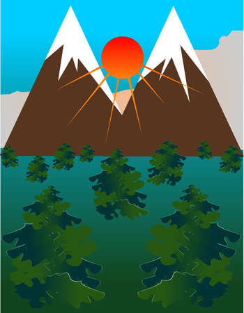 mountainous: beauty of mountainous ranges with the sun rising between the two mountains, Illustration