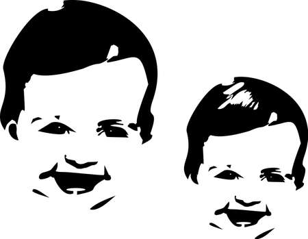 Silhouettes of 3 months old child smiling..