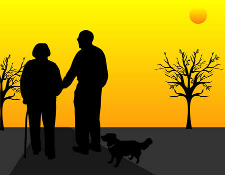 A elderly couple out walking their dog, and helping  each other, as the sun sets on another beautiful day, together..