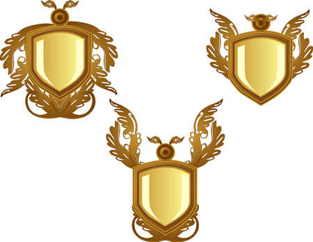 3 Bronze decorated  emblems or  crests, for your text or design Ilustracja