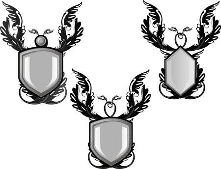Group of silver decorated  emblems or  crests, for your text or design