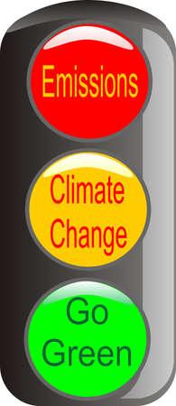 Cambio climático es necesaria, para detener las emisiones y go verde de advertencia  Foto de archivo - 6114632