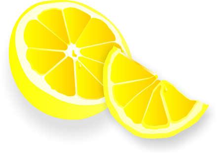 tarta: Pół i kwartał soczysta cytryną z owoców cytrusowych dropletu, prawo kwaskowaty smak... Ilustracja
