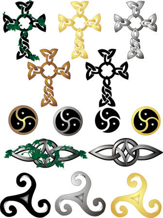 Grouping of different knots and symbols, with some having vines on them