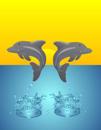 Two dolphins playing, as the sun sets in the background.. Stock Vector - 6269074