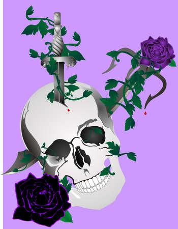 短剣とバラとそれのまわりのツルで頭蓋骨の頭蓋骨.