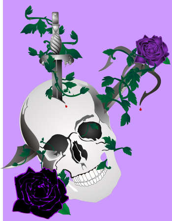 Skull with daggers and in skull with roses and vines around it... Ilustração
