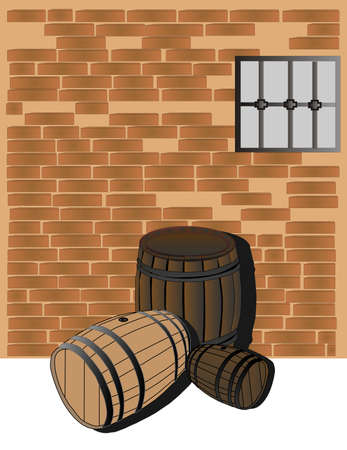 bung: 3 hardwood barrels, in different woods in  a cellar illustration