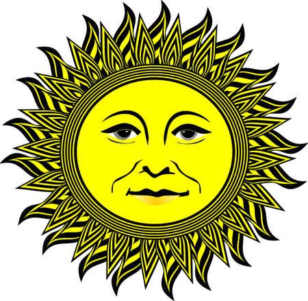 태양이 노랗고 검은 색의 광선으로 웃고 빛난다. 일러스트