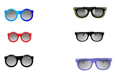Group of UV protecting sunglasses in various colours.