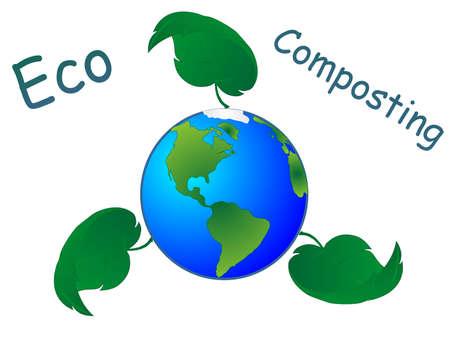 kompost: ECO Kompostierung, Symbol f�r Kompostierung und Mutter Erde, gesunde N�hrstoffe wieder verleiht. Speichern unsere Umgebungen... f�r die Zukunft Illustration