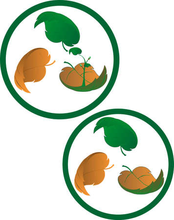 Two symbols, representing composting, one with a new tree, growing out of the composting leaf.  Three leaves, representing the break down of composting.
