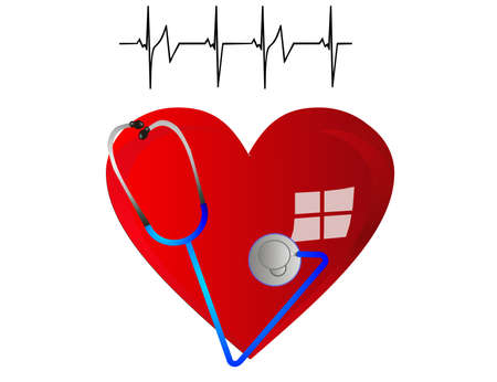 Heart, with stethoscope, beating a strong and healthy beat. Vector
