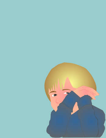 Small child thinking, and looking over to the right in his bluish shirt, illustration