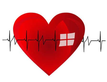 Illustratie van een hart en haar beat, het krachtige pompen