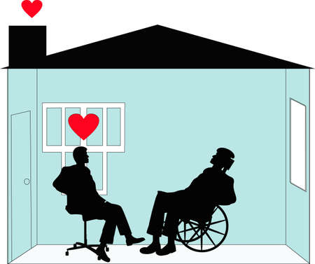 Rehabilitation and home care  and  given by loving care workers. Caring for people in their homes with respect and dignity. Vector