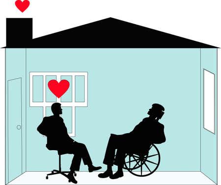 seniorenheim: Rehabilitation und Home Care und vom liebevolle Sorgfalt Arbeitnehmer. F�rsorge f�r Menschen in ihre H�user mit Respekt und w�rde. Illustration