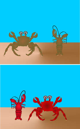 King crab  and lobster on a beach.. Cooked and in natural colours, too 向量圖像