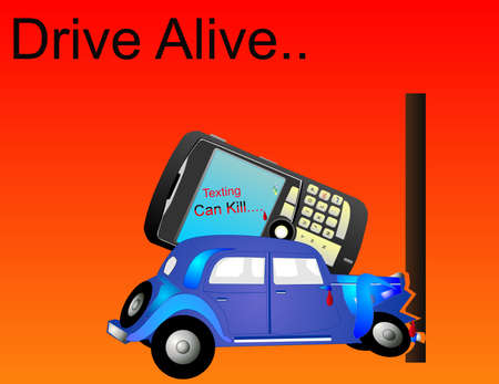 crashed: Car crashed into a pole, from the driver texting messages and not driving properly, illustration.. Illustration