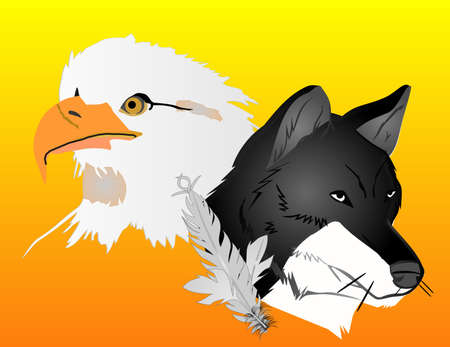 De wolf en de adelaar, met een veer, over de zon stijgen, Verenigd samen