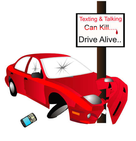 alive: Texting and talking while driving, can cause you to crash into a pole and get seriously hurt or die, so, Drive Alive....