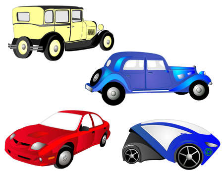 From the old to the new, cars,  in red, blue and yellow, grow, as we need more transportation, economical and practical. Stock Vector - 6695704