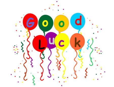 Meerdere gekleurde ballons, ik wens u veel succes met confetti vallen rond de ballonnen en streamer  Stockfoto - 6695705