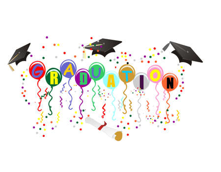 Ballons with Graduation on them, with mortarboard, diploma, streamers and confetti, to celebrate your great day! Vector