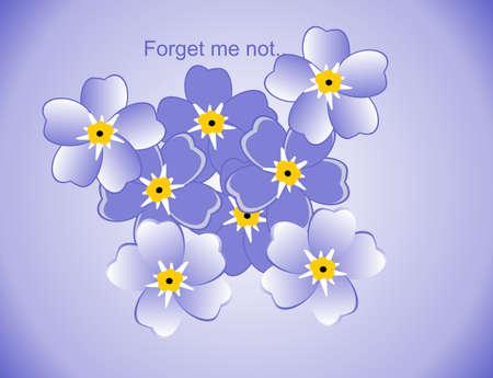 Blue flowers (Myosotis Alpestris), known as Forget Me Not illustration.. Vector