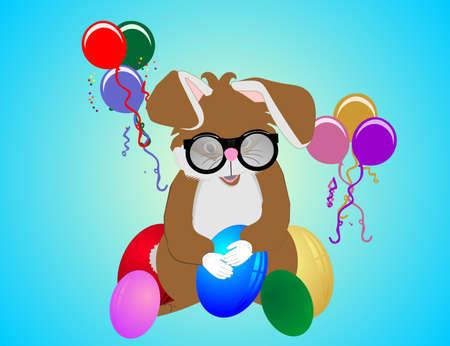 Older teacher Easter bunny getting ready for easter... Иллюстрация