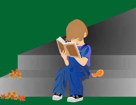 Jong kind buiten het lezen van een boek, met peren op stap zitten wachten om te eten
