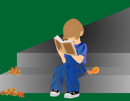Young child sitting outside reading a book, with oranges on step, awaiting to be eaten.. Çizim