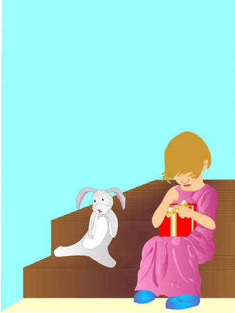 Child sitting on step with gift in her hands, and her favorite stuffed bunny beside her.  Thinking about what is in the gift.. Vector