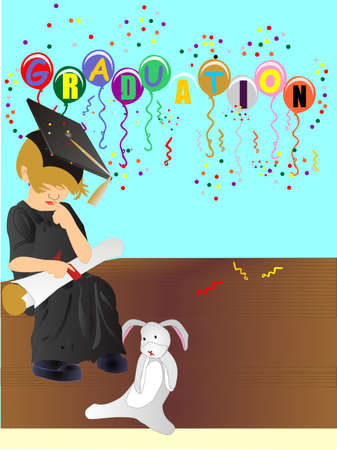 Child, sitting with the BIG diploma in hand, on the steps with the old stuffed rabbit. Balloons in the background of the celebrations... Vector