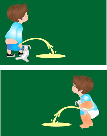 Two illustrations of toddlers peeing outside with their favorite bunny with them...