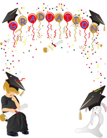 Young child at a graduation thinking, when I grow up I want to be.... with her favorite toy with her, and graduations balloons, confetti and streamers pouring down... Stock Vector - 6969772