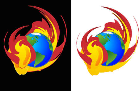 engulf: As the flames engulf the earth from Global warming... Two illustrations, one isolated, and one with black universe background... Illustration