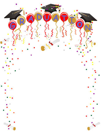 Ballons con graduación en ellos, con mortarboard, diploma, serpentinas y confeti, para celebrar su gran día! Ilustración de vector