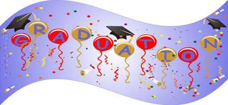 Graduation banner flies proudly, celebrating the new day, starting for all its Graduates...  With Ballons, streamers, confetti and more... Vector
