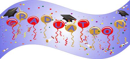 La pancarta de graduación vuela con orgullo, celebrando el nuevo día, comenzando para todos sus graduados ... Con globos, serpentinas, confeti y más ...