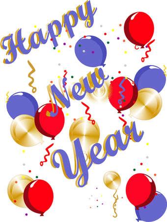 幸せな新しい年のお祝いイラスト  イラスト・ベクター素材