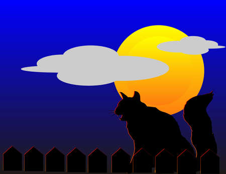 Black cat, sitting on fence with full moon in back, screeching to the wind, on Hallowed Eve... Stock Vector - 7073763