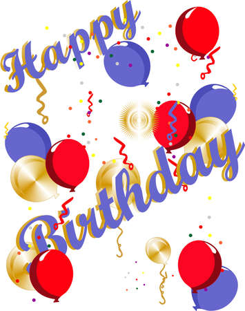 Ballons, Konfetti und ein großer Wunsch Happy Birthday  Standard-Bild - 7073766