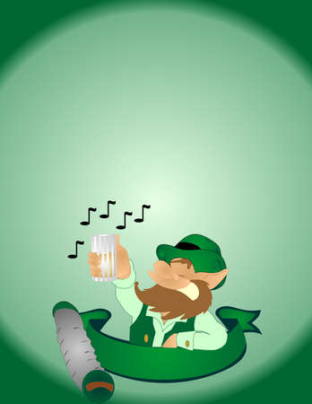 Singing a folk song, with a pint of ale in his hands, this leprechaun, is feeling lucky, today! Illustration